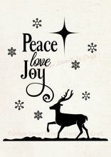 Load image into Gallery viewer, Peace, Love and Joy Christmas SilkScreen Stencil - Reusable, Selfadhesive - Canvas, Ceramics, Mirrors, Glass, Wood, Tote-bags, Fabric, Cards