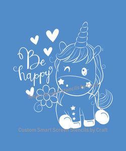 Custom Happy Unicorn SilkScreen Stencil - Reusable, Selfadhesive - Canvas, Cards, Glass, Ceramic, Walls, Fabric, Wood, Metal, T-shirt, Clay