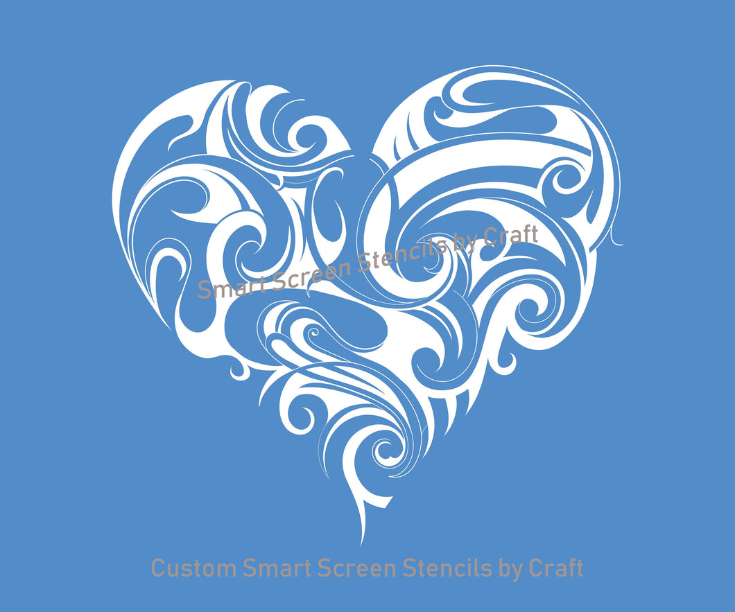 Marbled Heart SilkScreen Stencil - Reusable, Self Adhesive - Canvas, Cards, Glass, Ceramic, Walls, Fabric, Wood, Metal, Clay, Textile, Paper