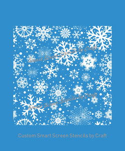 Custom Snowflakes Silk Screen Stencil - Reusable, Self Adhesive - Windows, Ceramic, Tile, Clay, Wood, Fabric, Metal, Pillows, Cards, Glass