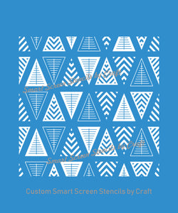 Seamless Geometric Triangle SilkScreen Stencil - Reusable Adhesive - Canvas, Cards, Glass, Ceramic, Wall, Fabric, Wood, Metal, Plastic, Clay