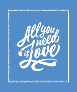 All you need is Love SmartScreen Stencil - Reusable, Self adhesive - Canvas, Cards, Glass, Ceramic, Wall, Fabric, Wood, Plastic, Metal, Clay