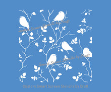 Load image into Gallery viewer, Seamless Birds in a Tree Silkscreen Stencil - Reusable, Self Adhesive -Canvas, Cards, Glass, Ceramic, Wall, Fabric, Wood, Metal, Clay, Paper