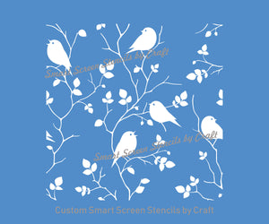 Seamless Birds in a Tree Silkscreen Stencil - Reusable, Self Adhesive -Canvas, Cards, Glass, Ceramic, Wall, Fabric, Wood, Metal, Clay, Paper