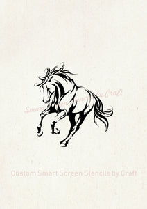 Hand drawn Galloping Horse SilkScreen Stencil - Reusable, Seamless - Canvas, Cards, Glass, Ceramic, Walls, Fabric, Wood, Tote-bags, etc.