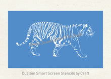 Load image into Gallery viewer, Hand drawn Tiger SilkScreen Stencil - Reusable, Seamless, Craft - Canvas, Cards, Glass, Ceramic, Walls, Fabric, Wood, Tote-bags, etc.