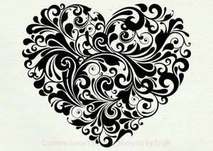 Beautiful Heart Silkscreen Stencil - Reusable, Self adhesive - Canvas, Cards, Glass, Ceramics, Wall, Fabric, Wood, Plastic, Metal, Clay, etc