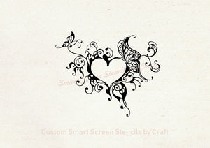 Butterfly Heart Frame SmartScreen Stencil - Reusable, Self adhesive - Canvas, Cards, Glass, Ceramic, Walls, Fabric, Wood, Plastic, Metal