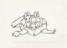 Load image into Gallery viewer, Hand Drawn Bunnies SilkScreen Stencil - Reusable, Selfadhesive - Canvas, Cards, Glass, Ceramics, Wall, Fabric, Wood, Metal, Clay, Paper