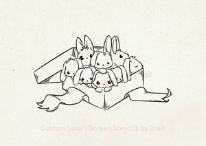 Hand Drawn Bunnies SilkScreen Stencil - Reusable, Selfadhesive - Canvas, Cards, Glass, Ceramics, Wall, Fabric, Wood, Metal, Clay, Paper