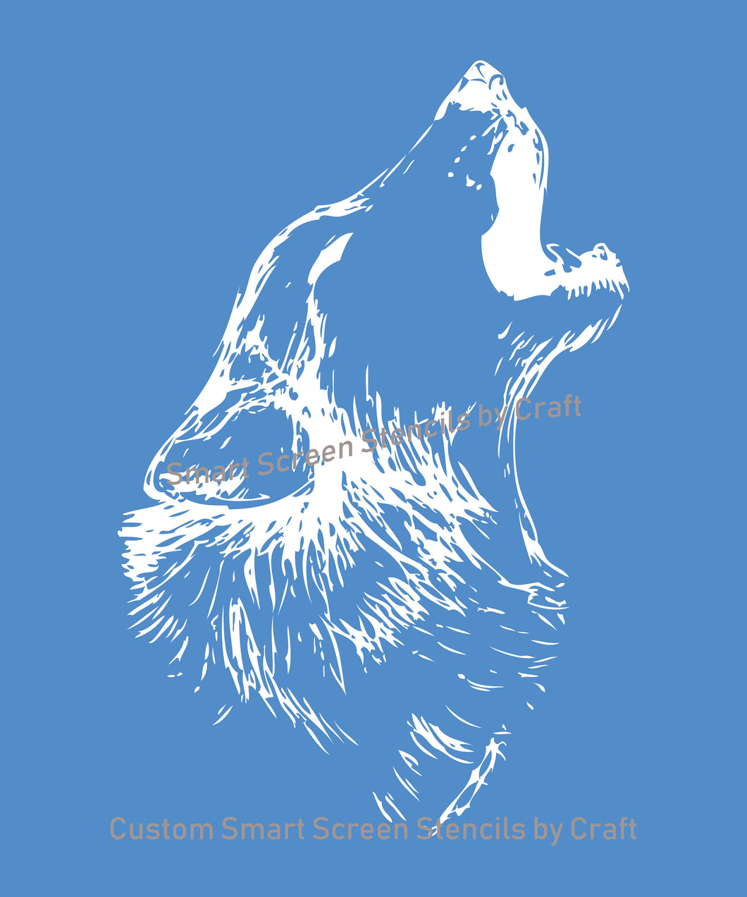 Howling Wolf SilkScreen Stencil - Reusable, Selfadhesive - Canvas, Cards, Glass, Ceramic, Wall, Fabric, Wood, Metal, Tote-bag, T-shirt