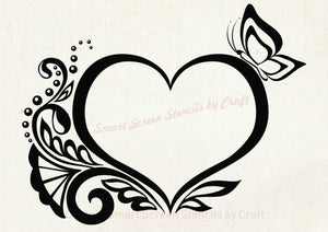 Decorative Heart SilkScreen Stencil - Reusable, Self Adhesive - Canvas, Cards, Glass, Ceramics, Wall, Fabric, Wood, Metal, Clay, Plastic