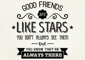 Good Friends Stars Quote SmartScreen Stencil - Reusable, Self adhesive - Canvas, Cards, Glass, Ceramic, Walls, Fabric, Wood, Plastic, Metal