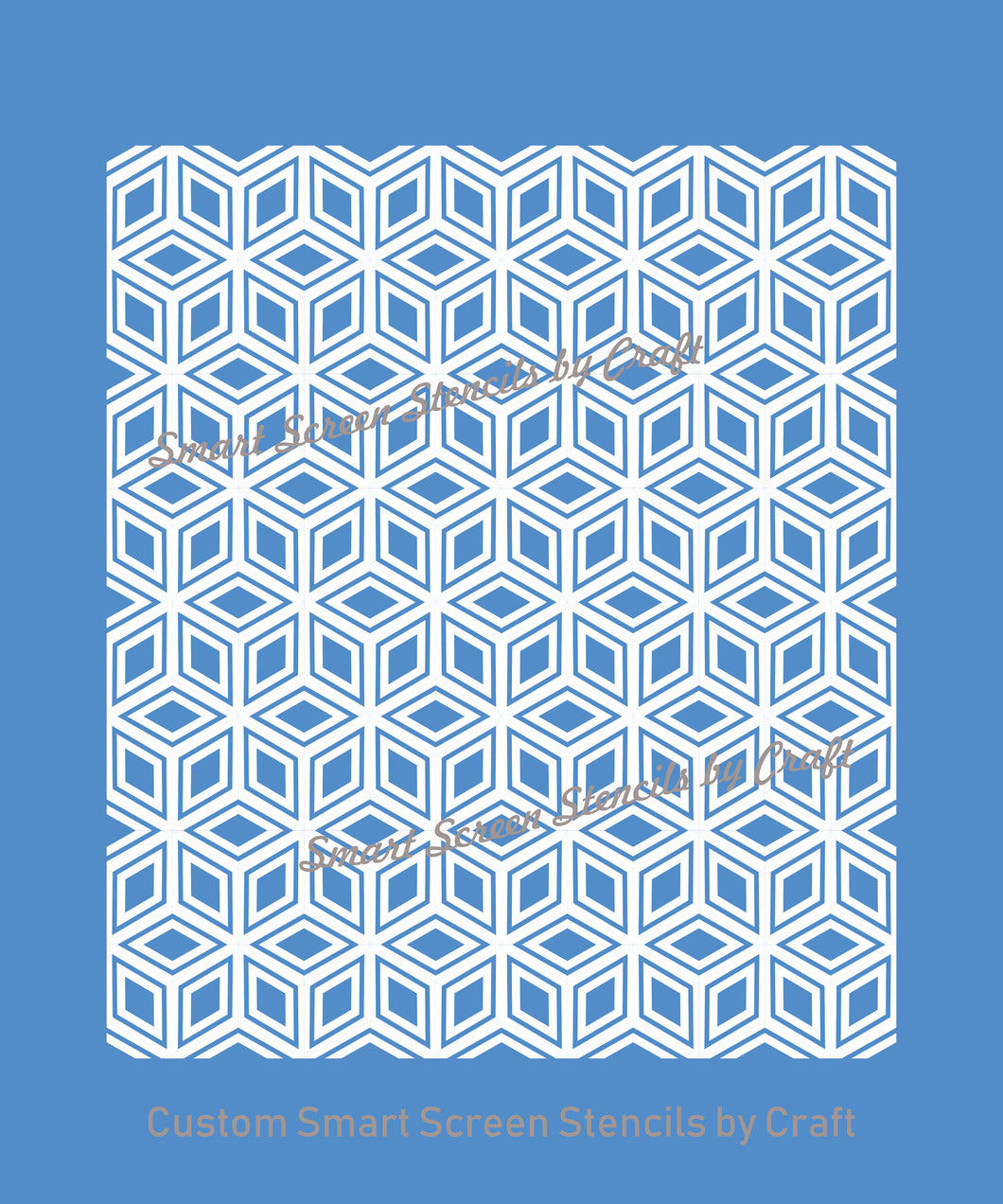 3D Cube Pattern Silkscreen Stencil - Seamless, Self adhesive, Reusable - Canvas, Cards, Glass, Ceramic, Walls, Fabric, Wood, Metal, Clay