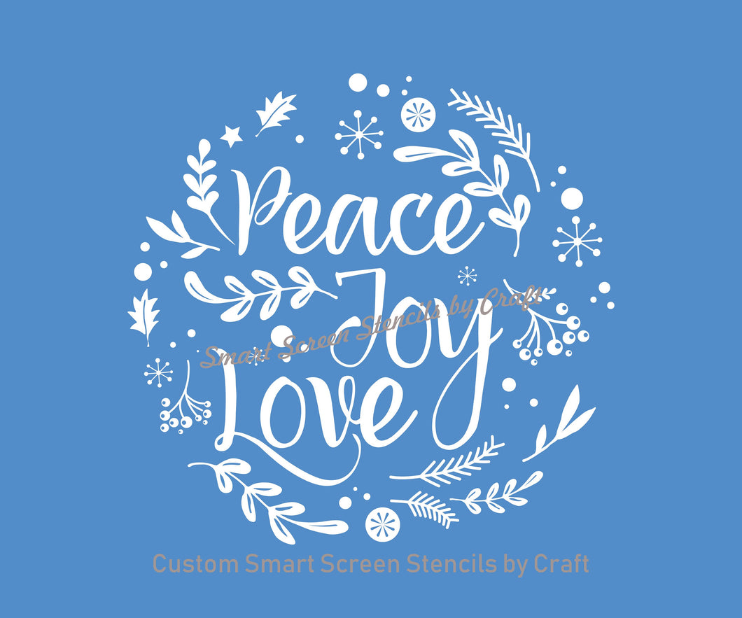 Peace, Joy and Love SmartScreen Stencil - Reusable, Self adhesive - Canvas, Cards, Glass, Ceramic, Walls, Fabric, Wood, Plastic, Metal, Clay
