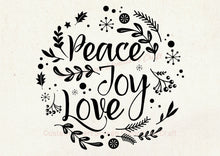 Load image into Gallery viewer, Peace, Joy and Love SmartScreen Stencil - Reusable, Self adhesive - Canvas, Cards, Glass, Ceramic, Walls, Fabric, Wood, Plastic, Metal, Clay