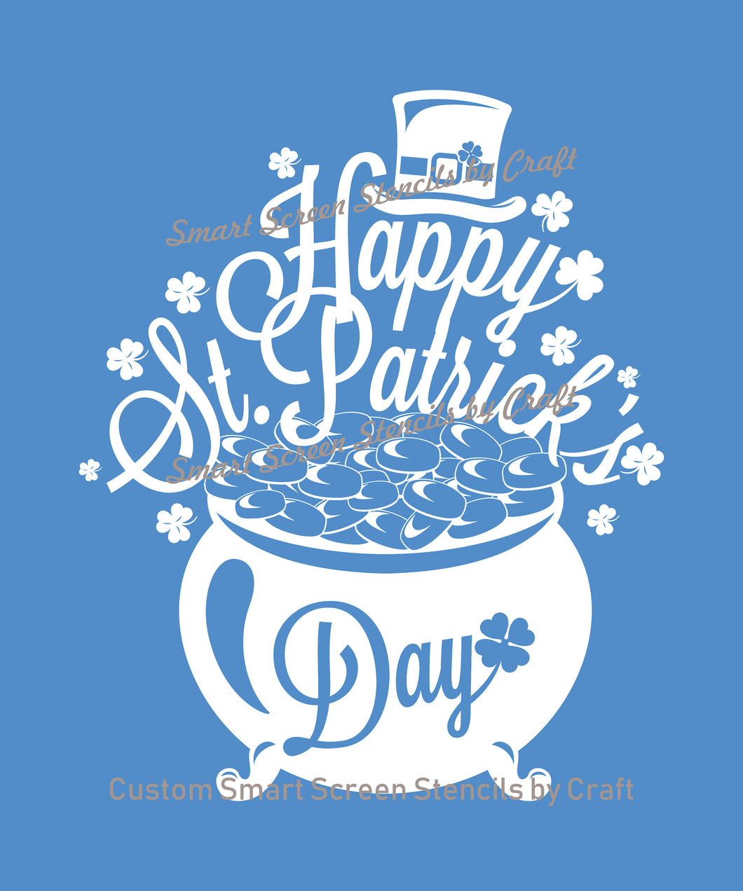 Pot of Gold Smart Screen Stencil by Craft - St. Patrick'a Day - Reusable, Self Adhesive - Fabric, Ceramic, Glass, Wood, Metal, Paper, Clay