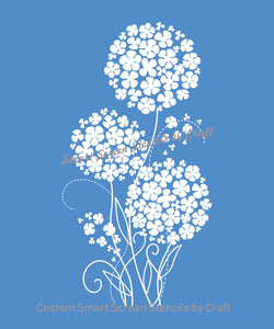 Lovely Flowers SmartScreen Stencil - Reusable, Self adhesive - Canvas, Cards, Glass, Ceramic, Walls, Fabric, Wood, Plastic, Metal