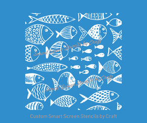 Cartoon Fish SilkScreen Stencil - Reusable, Self Adhesive - Canvas, Cards, Ceramics, Tile, Wall, Glass, Wood, Metal, Fabric, Clay, Plastic