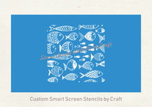 Load image into Gallery viewer, Cartoon Fish SilkScreen Stencil - Reusable, Self Adhesive - Canvas, Cards, Ceramics, Tile, Wall, Glass, Wood, Metal, Fabric, Clay, Plastic