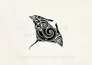 Tribal Manta Ray SmartScreen Stencil - Reusable, Self adhesive - Canvas, Cards, Glass, Ceramic, Walls, Fabric, Wood, Plastic, Metal, Clay