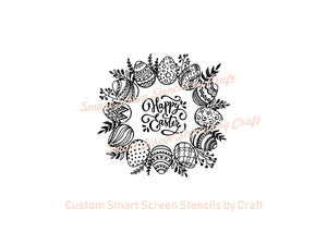 Easter Wreath Silkscreen Stencil - Reusable, Self Adhesive - Canvas, Cards, Glass, Ceramic, Wall, Fabric, Wood, Paper, Metal, Polymer Clay.
