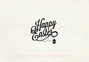 Happy Easter Silkscreen Stencil - Reusable, Self Adhesive - Canvas, Cards, Glass, Ceramic, Walls, Fabric, Wood, Paper, Metal, Polymer Clay.