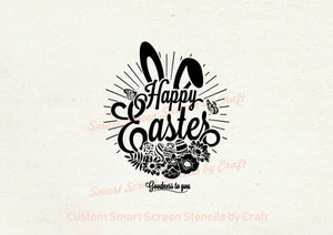 Happy Easter Wreath SilkScreen Stencil - Reusable - Canvas, Cards, Glass, Ceramic, Walls, Fabric, Wood, Tote-bags, Metal, Polymer Clay.