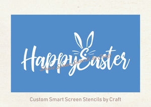 Happy Easter Silkscreen Stencil - Reusable, Self Adhesive - Canvas, Cards, Glass, Ceramic, Walls, Fabric, Wood, Paper, Metal, Clay.