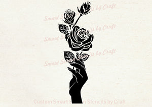 Handheld Roses SmartScreen Stencil - Reusable, Self adhesive - Canvas, Cards, Glass, Ceramic, Walls, Fabric, Wood, Plastic, Metal, Clay