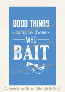 Fishing Bait SilkScreen Stencil - Reusable, Self Adhesive - Canvas, Cards, Glass, Ceramic, Walls, Fabric, Wood, Metal, Plastic, Clay