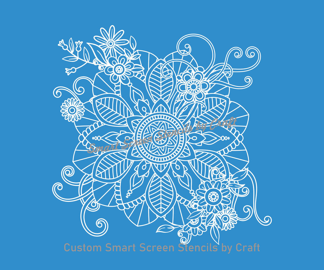 Floral Mandala Silk Screen Stencil - Reusable, Self Adhesive - Fabric, Paper, Stone, Glass, Clay, Tile, Wall, Metal, Textile, Plastic, etc.