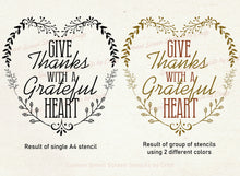 Load image into Gallery viewer, Give Thanks Grateful Heart SilkScreen Stencil - Reusable, Self-adhesive - Canvas, Glass, Ceramic, Walls, Fabric, Wood, Metal, Clay, etc.
