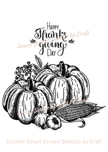 Thanksgiving Harvest SilkScreen Stencil - Reusable, Self-Adhesive - Tshirts, Ceramic, Tile, Glass, Wood, Fabric, Pillows, Cards, Clay, Metal