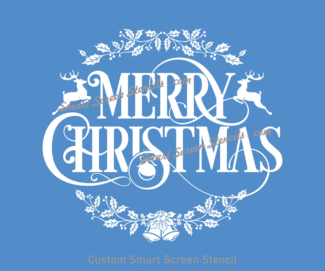 Christmas Wreath SilkScreen Stencil - Reusable, Self Adhesive - Fabric, Ceramics, Tile, Glass, Wood, Textile, Metal, Cards, Paper, Plastic.