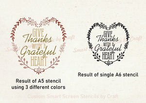 Give Thanks Grateful Heart SilkScreen Stencil - Reusable, Self-adhesive - Canvas, Glass, Ceramic, Walls, Fabric, Wood, Metal, Clay, etc.