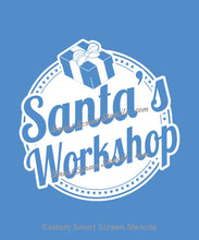 Load image into Gallery viewer, Santa's Workshop SilkScreen Stencil - Reusable, Self Adhesive - Wood, Fabric, Ceramics, Tile, Glass, Textile, Metal, Cards, Paper, Plastic.