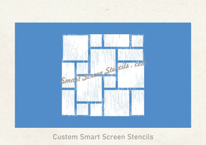 Reusable Abstract Squares Silkscreen Stencil - Reusable, Self Adhesive - Canvas, Cards, Fabric, Metal, Wood, Paper, Plastic, Textile, Clay