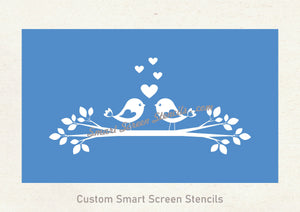 Two Love Birds SmartScreen Stencil - Reusable, Self adhesive - Canvas, Cards, Glass, Ceramic, Walls, Fabric, Wood, Plastic, Metal, etc