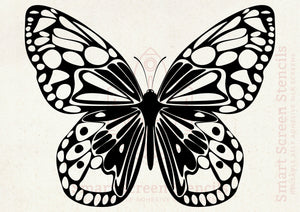 Butterfly 2 Silkscreen Stencil - Custom, Reusable, Adhesive - Canvas, Fabric, Cards, Glass, Ceramics, Tile, Wall, Wood, Plastic, Stone, Clay