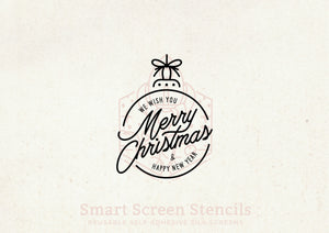 Christmas Ball SilkScreen Stencil - Reusable, Adhesive - Fabric, Ceramic, Tile, Glass, Wood, Textile, Metal, Cards, Paper, Plastic, Clay