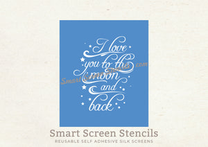 Custom Love you Quote SmartScreen Stencil - Reusable, Self adhesive - Canvas, Cards, Glass, Ceramic, Walls, Fabric, Wood, Plastic, Metal