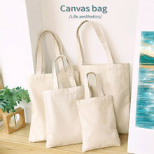 Load image into Gallery viewer, White Canvas Shopping Bags Eco Reusable Foldable