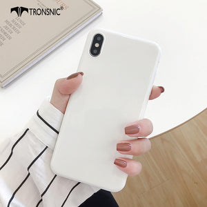 Candy Color Glossy White Phone Case for iPhone 11 Pro XS MAX XR