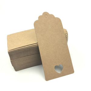 100pcs White Brown Hollow Heart Paper Hang Tags