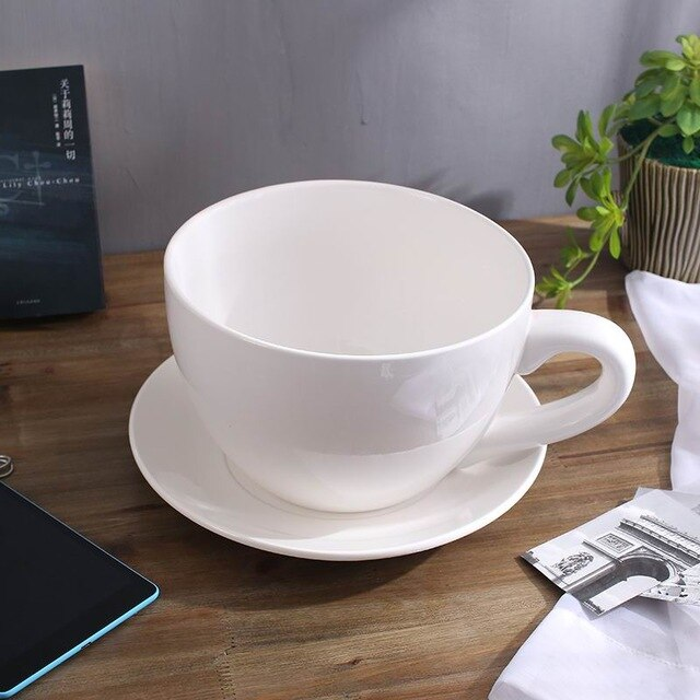 White Extra Large mug with Saucer