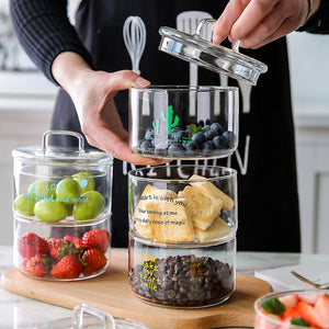 Heat-Resistant Stackable Glass Storage Jars
