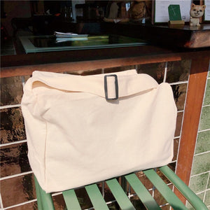 White canvas campus student shoulder bag shopping tote