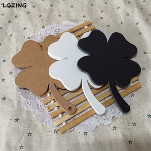 New White Brown and Black Four-leaf clover Shaped Kraft Paper Tags