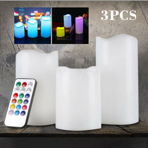 3Pcs Remote Tea Candles LED Flameless